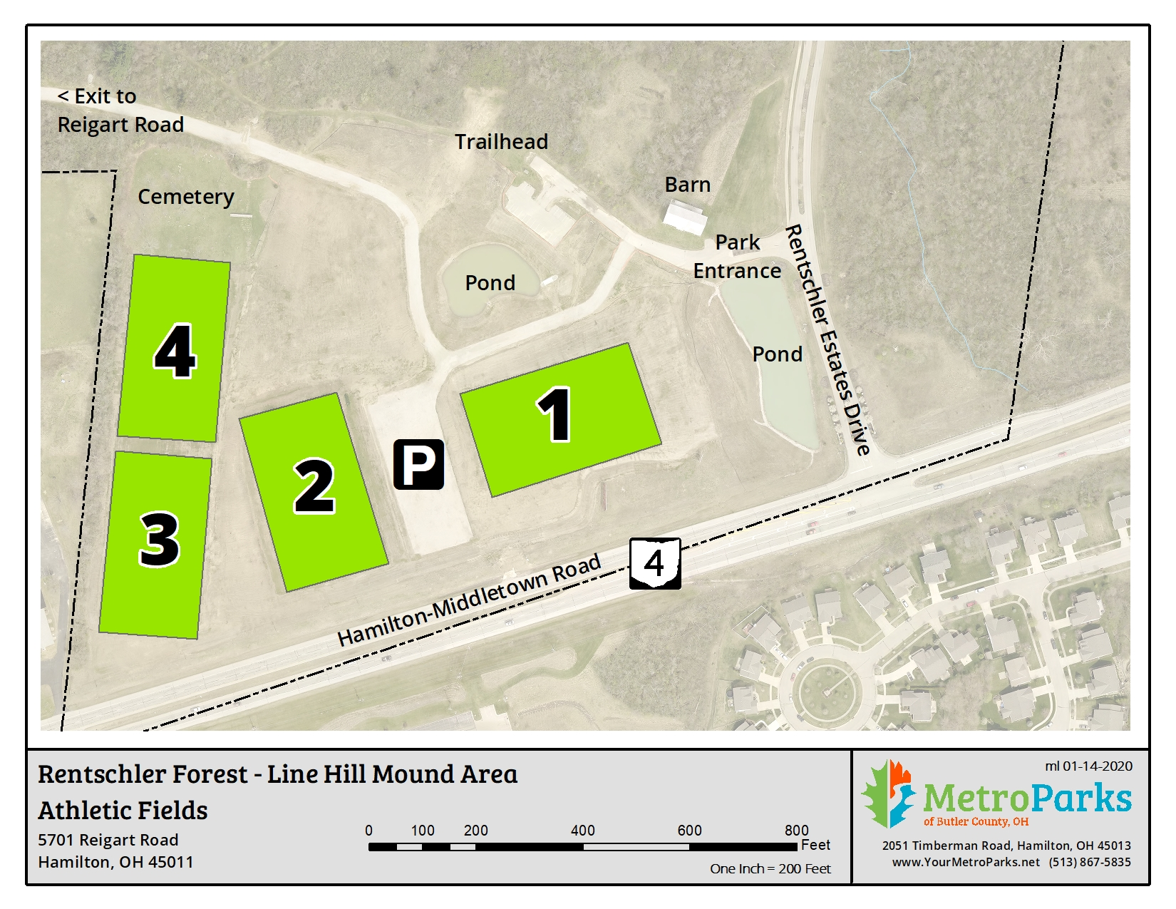 Rentschler Forest MetroPark Line Hill Area Sports Fields Map