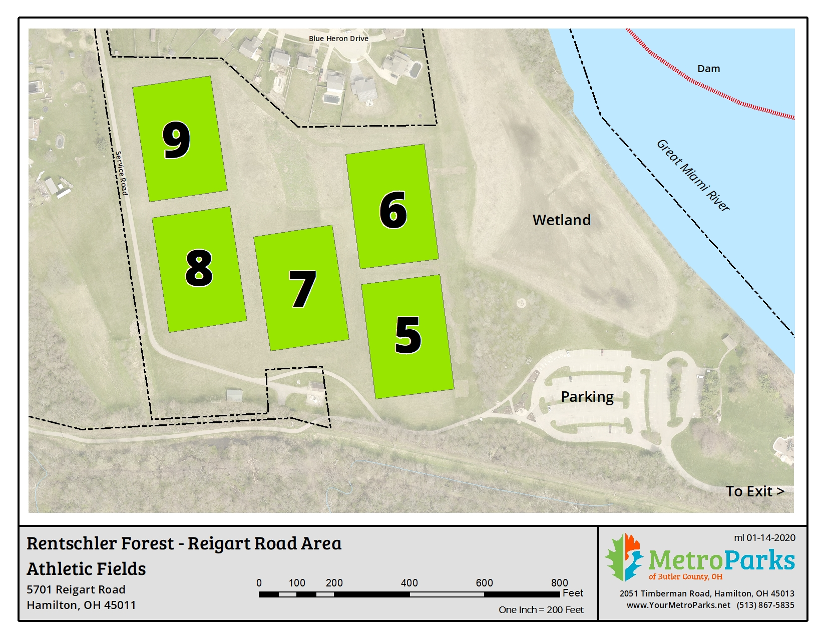 Rentschler Forest MetroPark Reigart Road Area Sports Fields Map